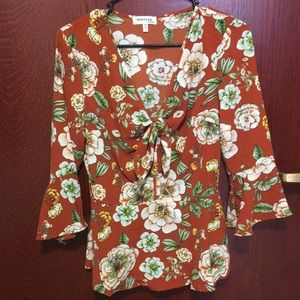 NWT Earthy Brown Floral 3/4 Sleeve Blouse
